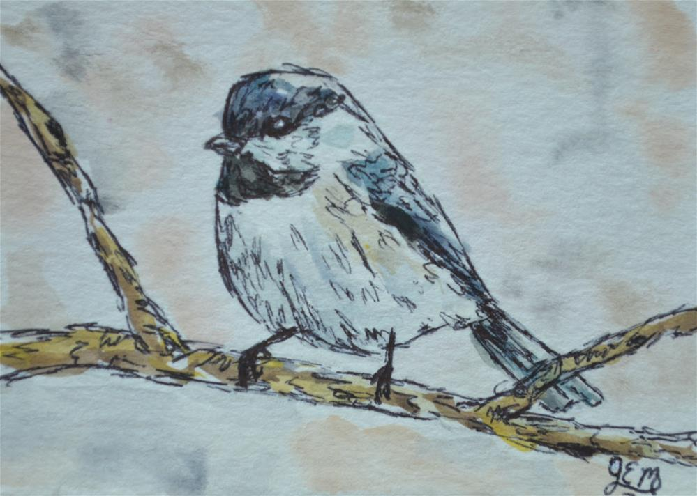 """ACEO Chickadee Watercolor"" original fine art by Gloria Ester"