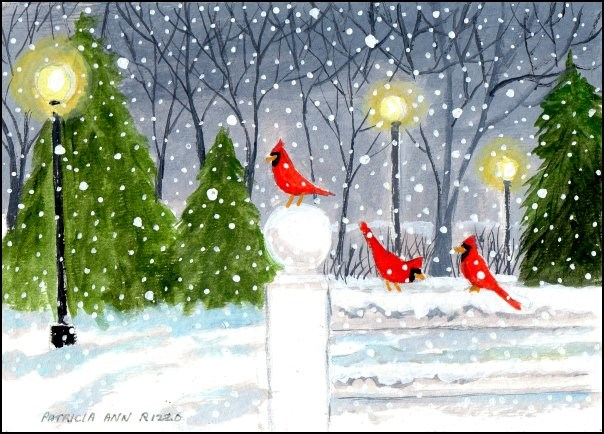 """Cardinals on a Snowy Evening"" original fine art by Patricia Ann Rizzo"