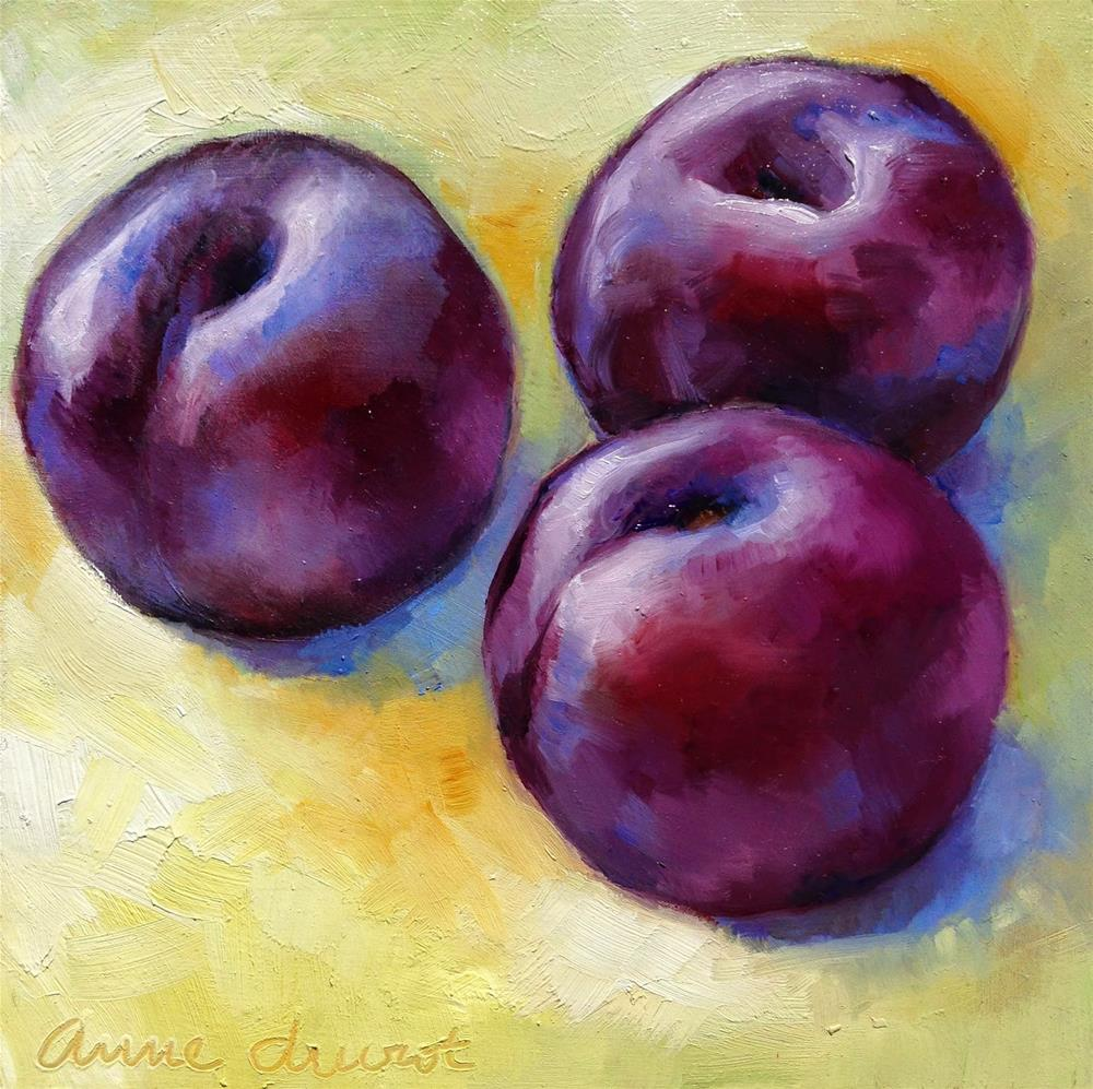 """Three Plums"" original fine art by Anne Ducrot"