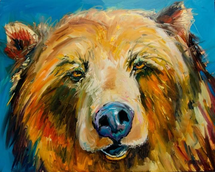 """ARTOUTWEST BIG SLEEPY BEAR ANIMAL ART BY DIANE WHITEHEAD"" original fine art by Diane Whitehead"