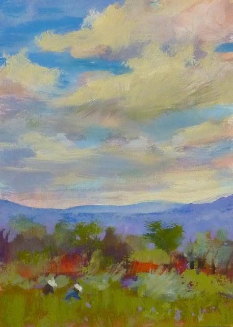 """New Mexico Landscape in Gouache"" original fine art by Karen Margulis"