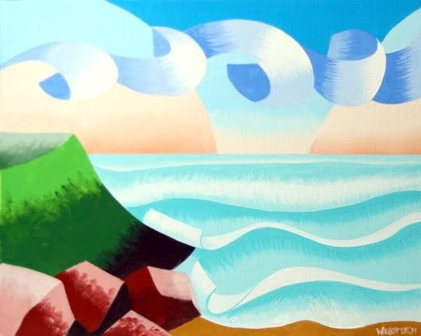 """Mark Webster - Abstract Ocean Coast Landscape Oil Painting"" original fine art by Mark Webster"