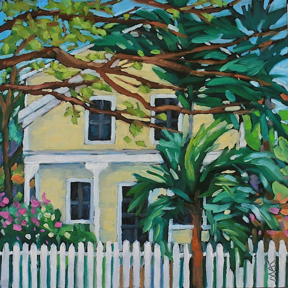 """Key West Yellow House"" original fine art by Mary Anne Cary"