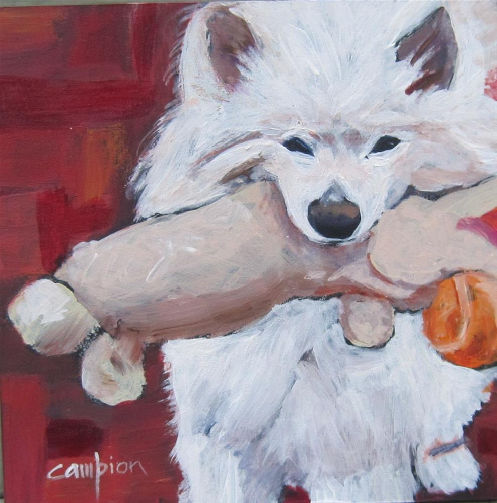 """Samoyed With His Baby"" original fine art by Diane Campion"