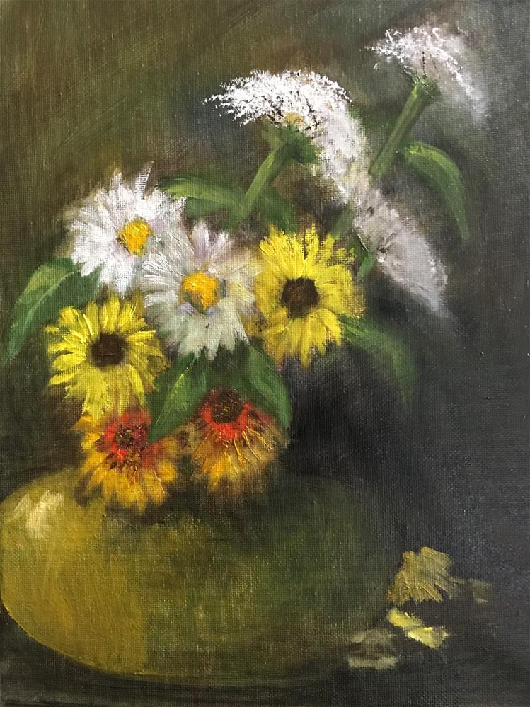 """yellow, white and gold flowers"" original fine art by Betty Argiros"