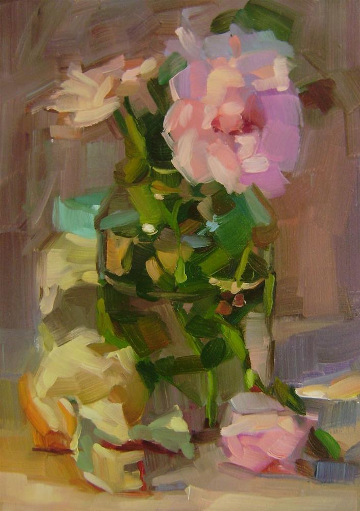 """Pink Roses"" original fine art by Holly Storlie"