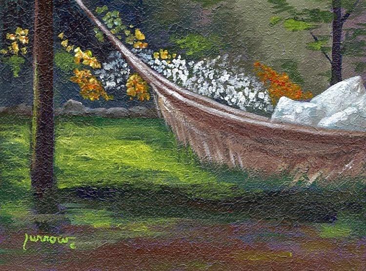 """ORIGINAL PAINTING GARDENSCAPE WITH HAMMOCK"" original fine art by Sue Furrow"