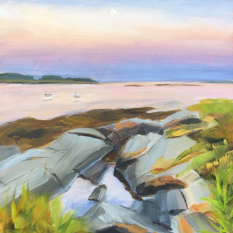 """#35 - Moonset - Kettle Cove - Scarborough, ME"" original fine art by Sara Gray"