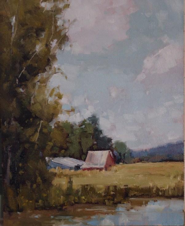 """Red Barn"" original fine art by Julie Davis"