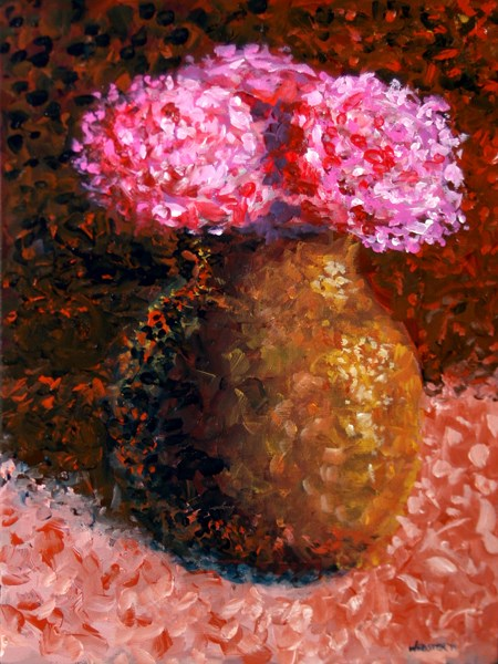 """Mark Webster - Impressionist Flowers in Vase Acrylic Still Life Painting"" original fine art by Mark Webster"