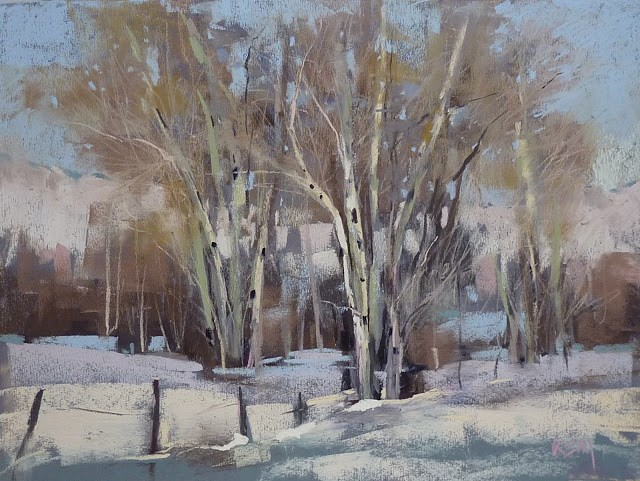 """The Magic of Using Neutrals in a Winter Landscape Painting"" original fine art by Karen Margulis"