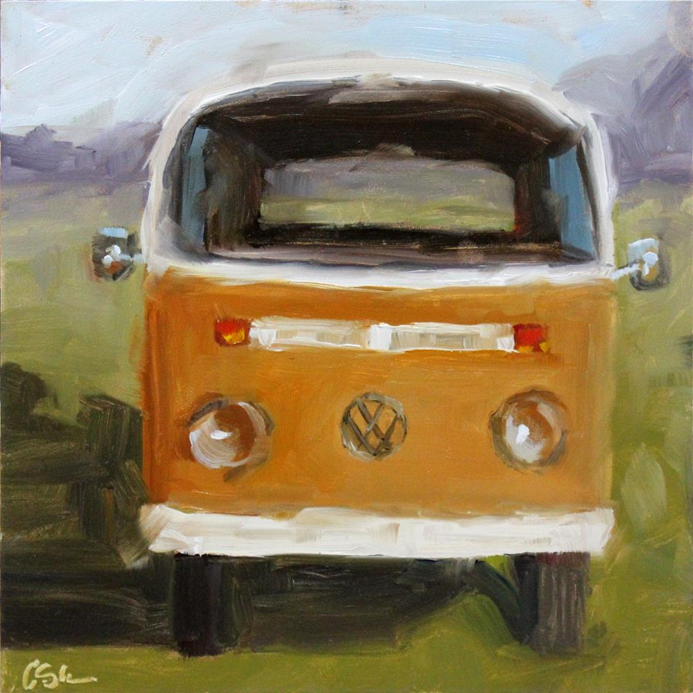 """""""Baywindow Bus in Orange"""" original fine art by Corinne Slusser"""