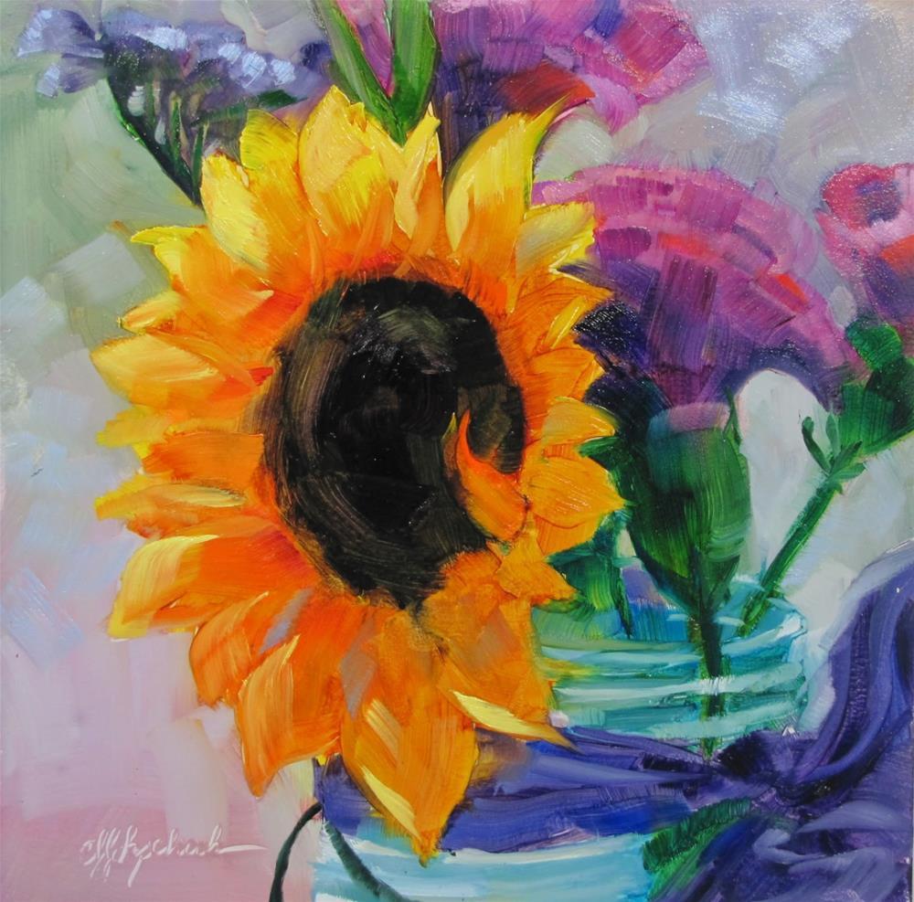 """""""Sunflower in Blue Jar"""" original fine art by Christine Holzschuh"""