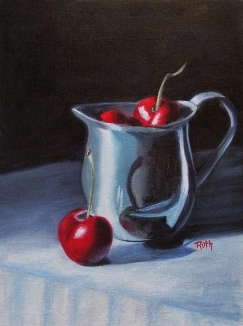 """""""Cherries in Silver"""" original fine art by Ruth Stewart"""