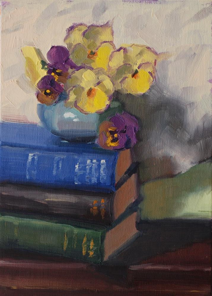 """No. 753 Pansies with Support"" original fine art by Susan McManamen"