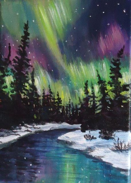 Northern Lights Yukon Original Fine Art By Jackie Irvine