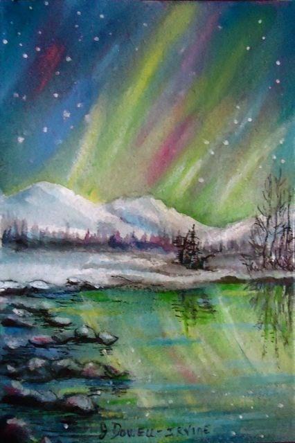"""Northern LIght Study 2 "" original fine art by Jackie Irvine"