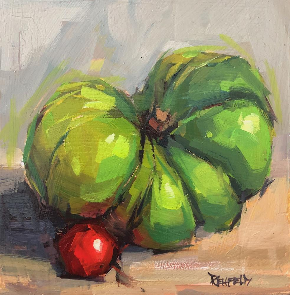 """Heirloom Green Tomato II"" original fine art by Cathleen Rehfeld"