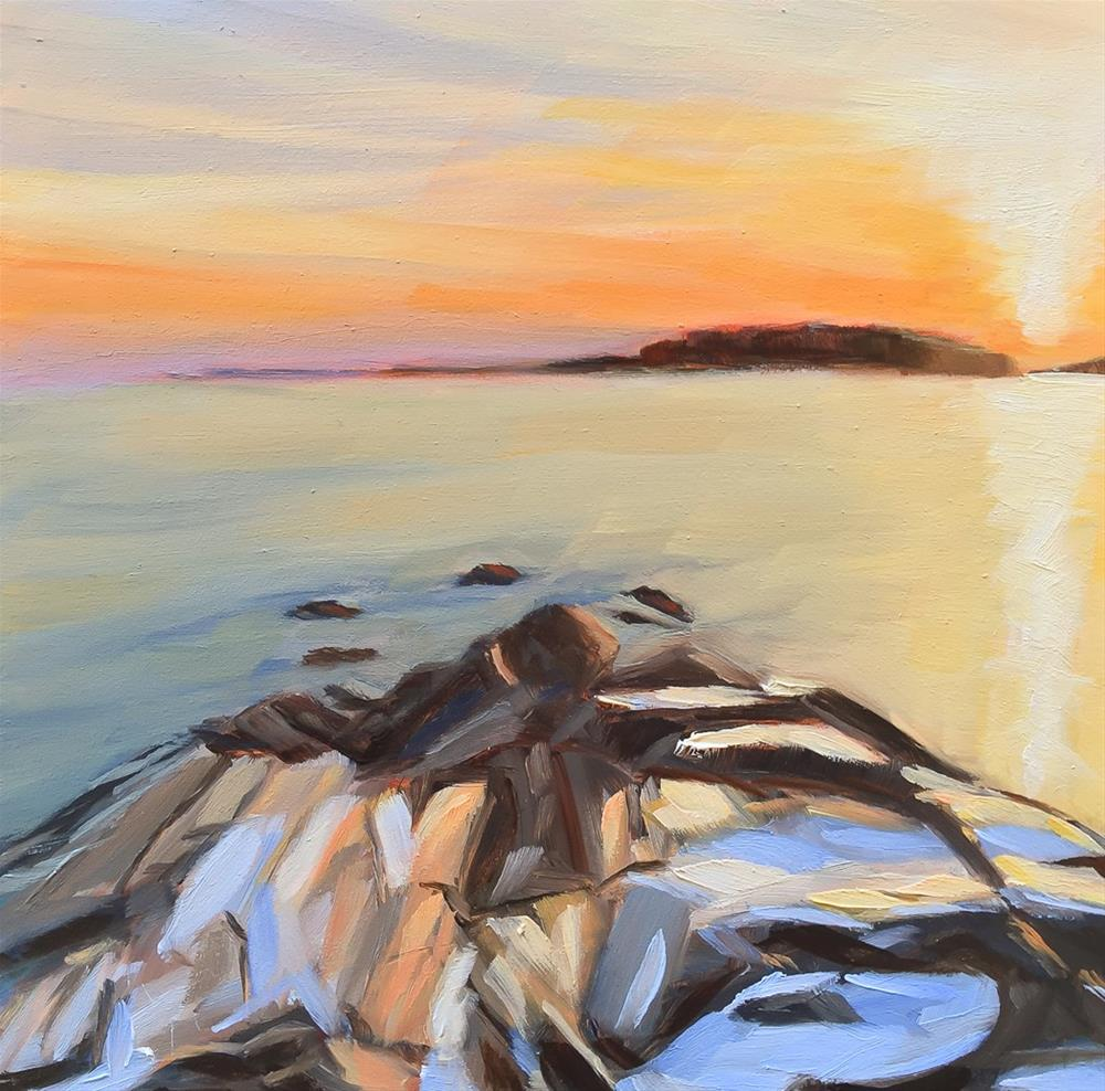 """#65 - Winter Sunset-Two Lights State Park, ME"" original fine art by Sara Gray"