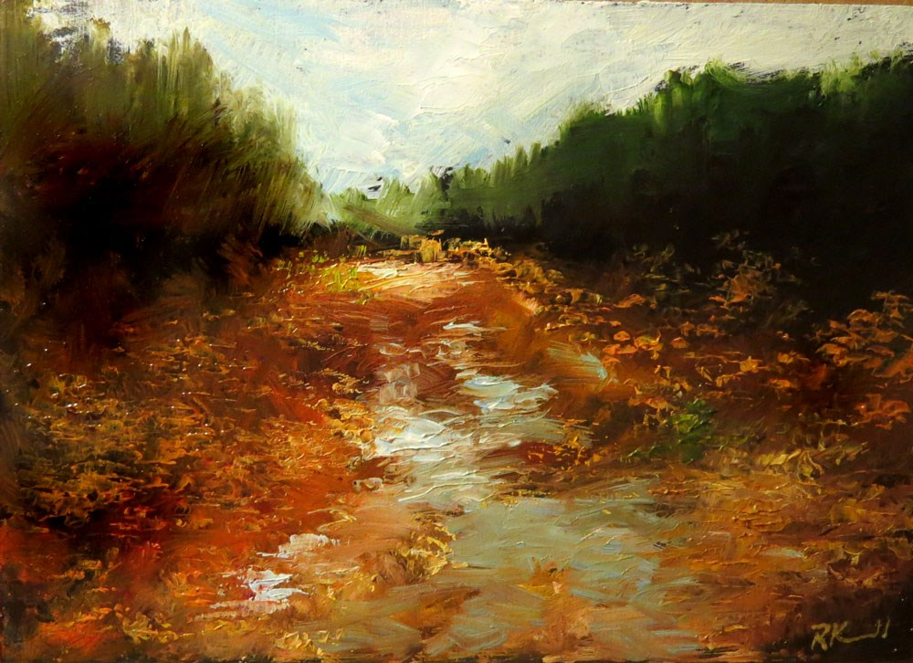 """""""The Back Road After the Rain"""" original fine art by Bob Kimball"""
