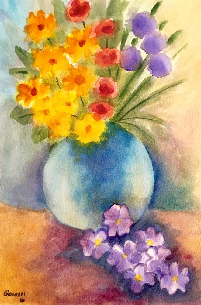"""""""Purple and Yellow Flowers Bouquet"""" original fine art by Giovanni Antunez"""