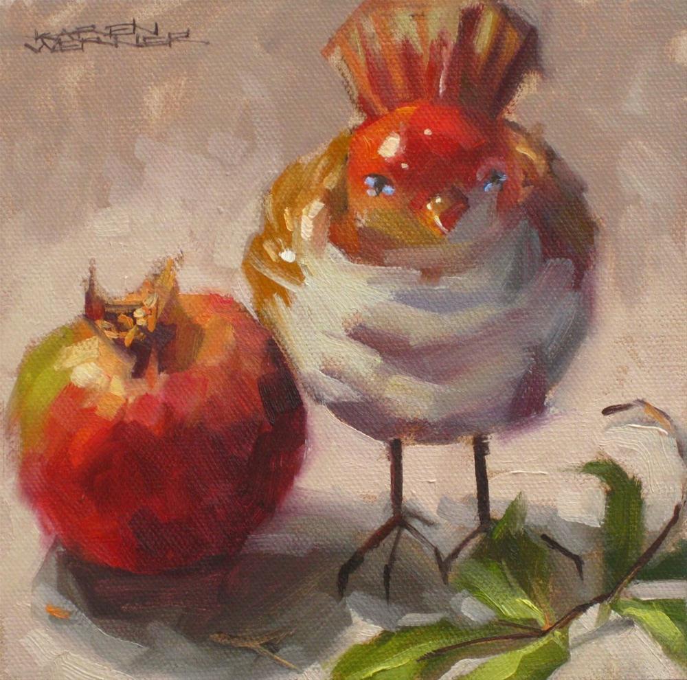 """""""Bird With Pomegranate"""" original fine art by Karen Werner"""
