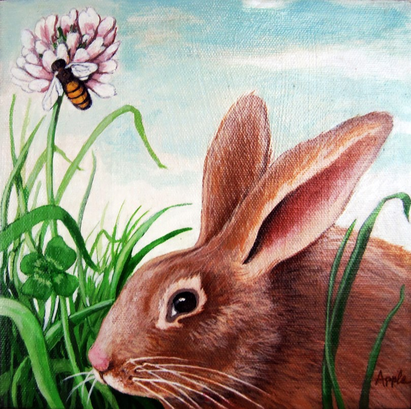 """Rabbit, Clover and Bumblebee animal portrait"" original fine art by Linda Apple"
