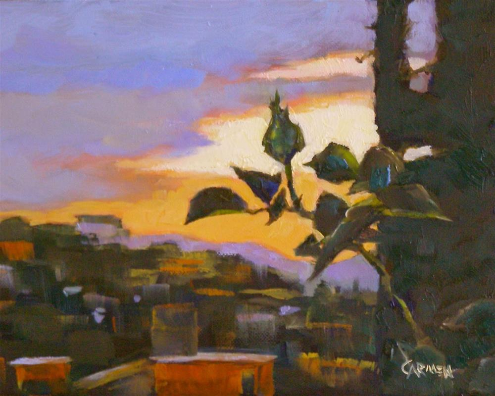 """San Miguel Sunset, 8x6 Oil on Canvas"" original fine art by Carmen Beecher"