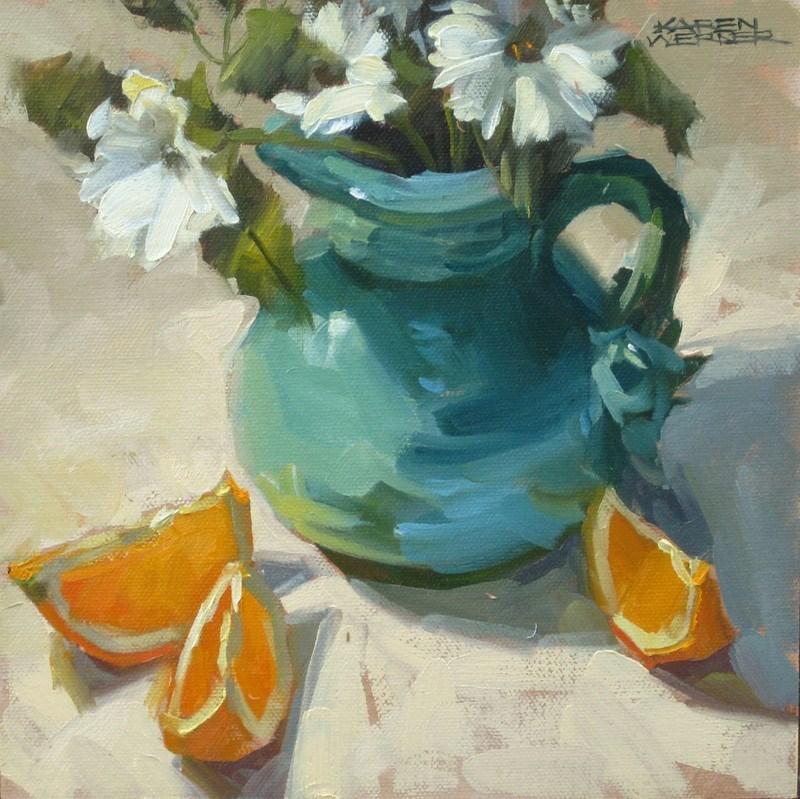 """""""Turquoise Pitcher"""" original fine art by Karen Werner"""