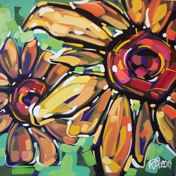 """Flower Abstraction 64"" original fine art by Roger Akesson"