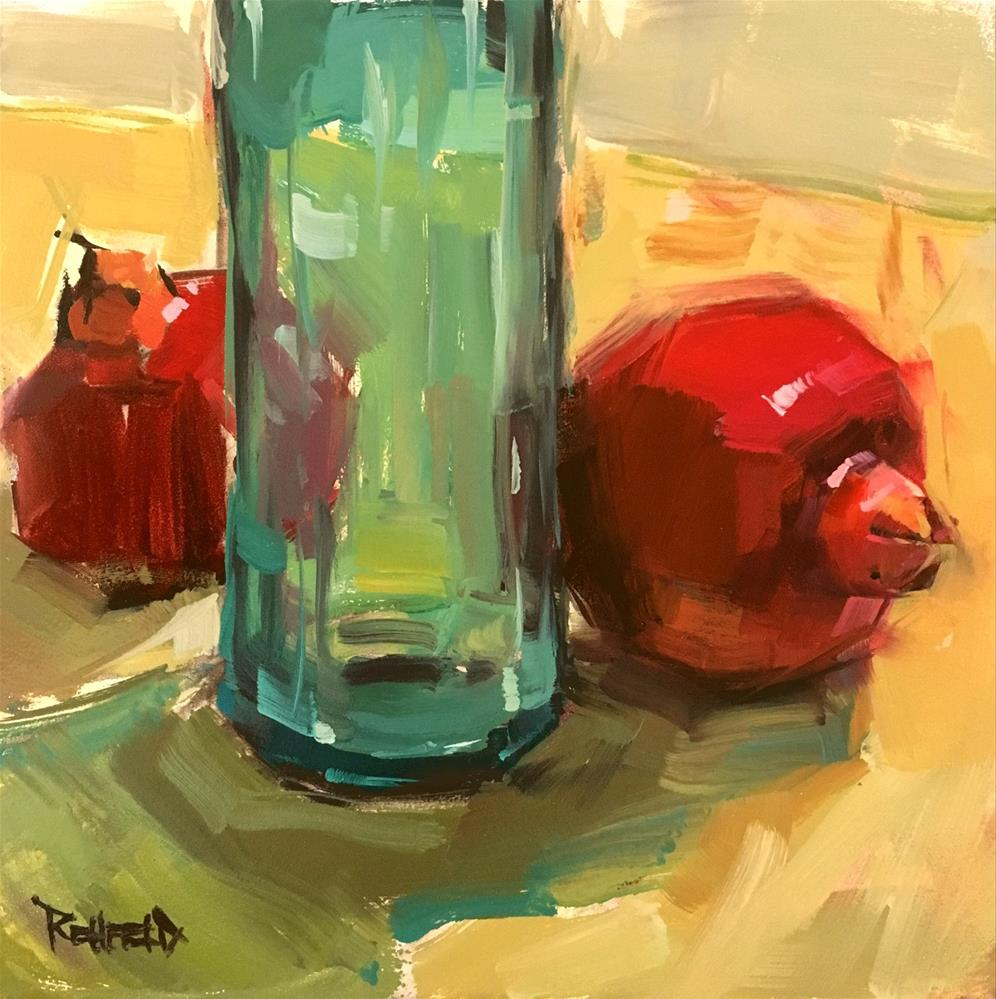 """Two Poms and Turquoise Bottle"" original fine art by Cathleen Rehfeld"