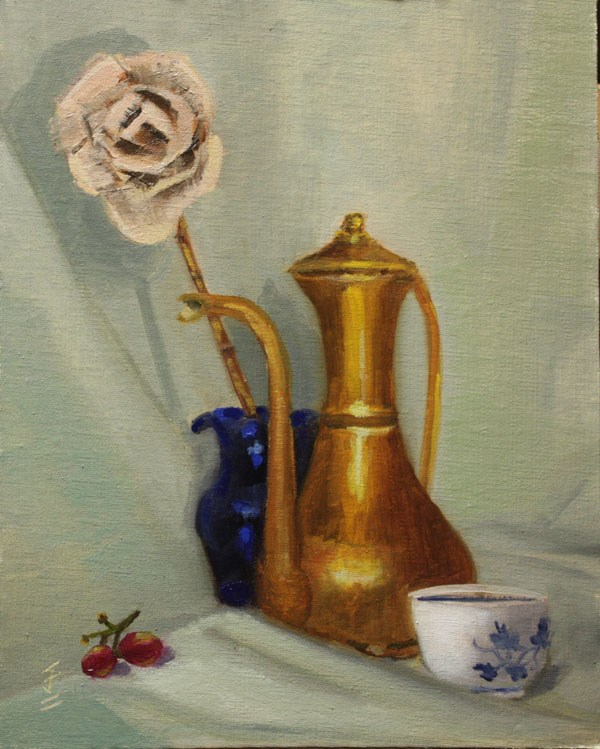 """""""Brass Teapot and Dried Rose"""" original fine art by Jane Frederick"""