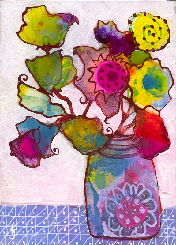 """Funky Flower 1"" original fine art by Francine Dufour~Jones"