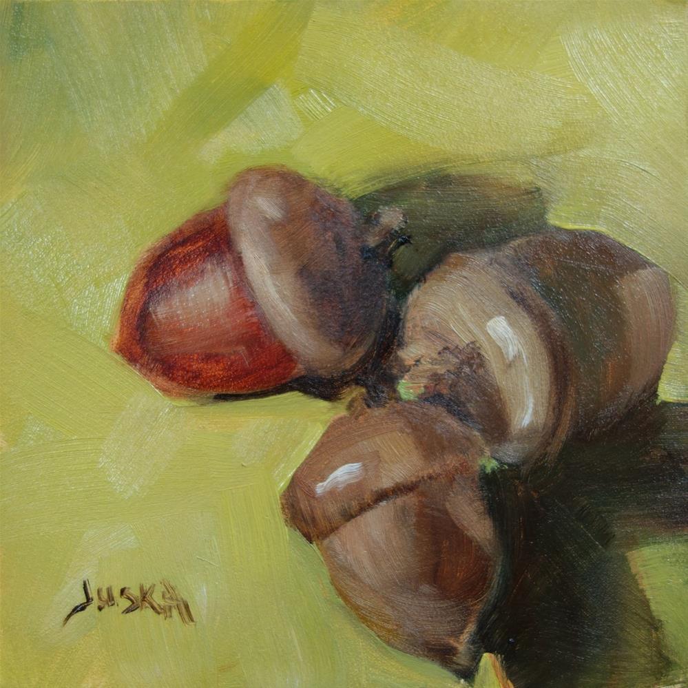 """Oil Study of 3 Acorns"" original fine art by Elaine Juska Joseph"