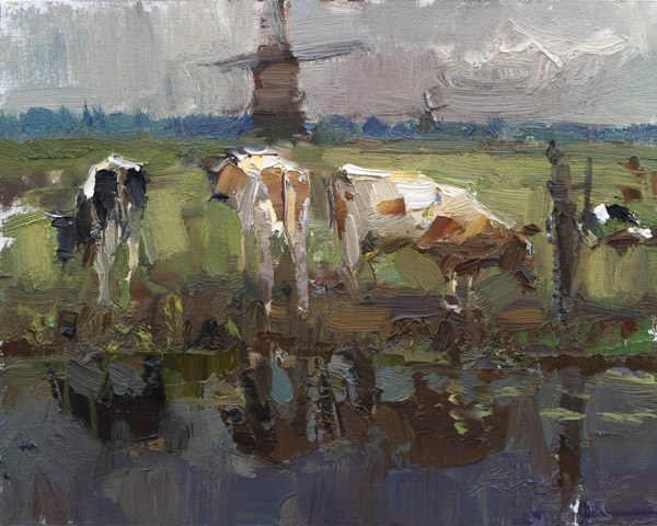 """""""Painting Cows near a Windmill"""" original fine art by Roos Schuring"""