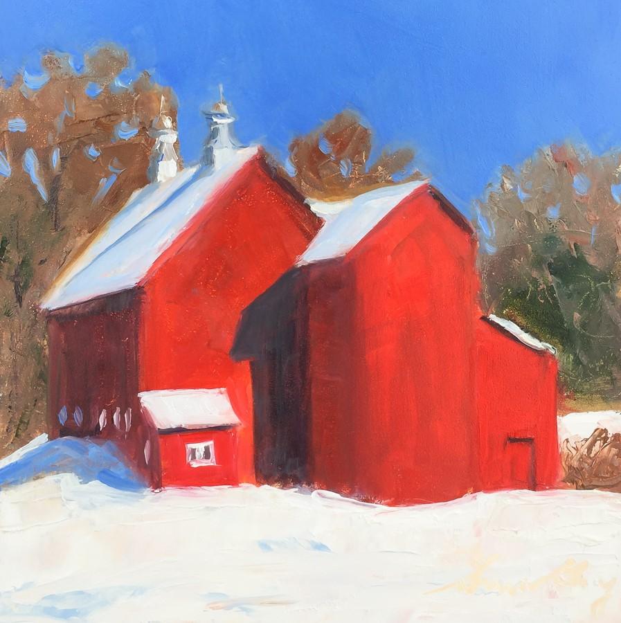 """#175- Red Barn - Stowe, VT"" original fine art by Sara Gray"