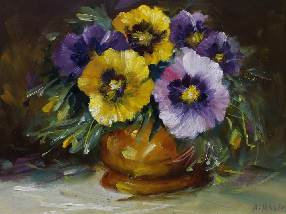 """""""Pansy spring flower floral still life purple yellow """" original fine art by Alice Harpel"""