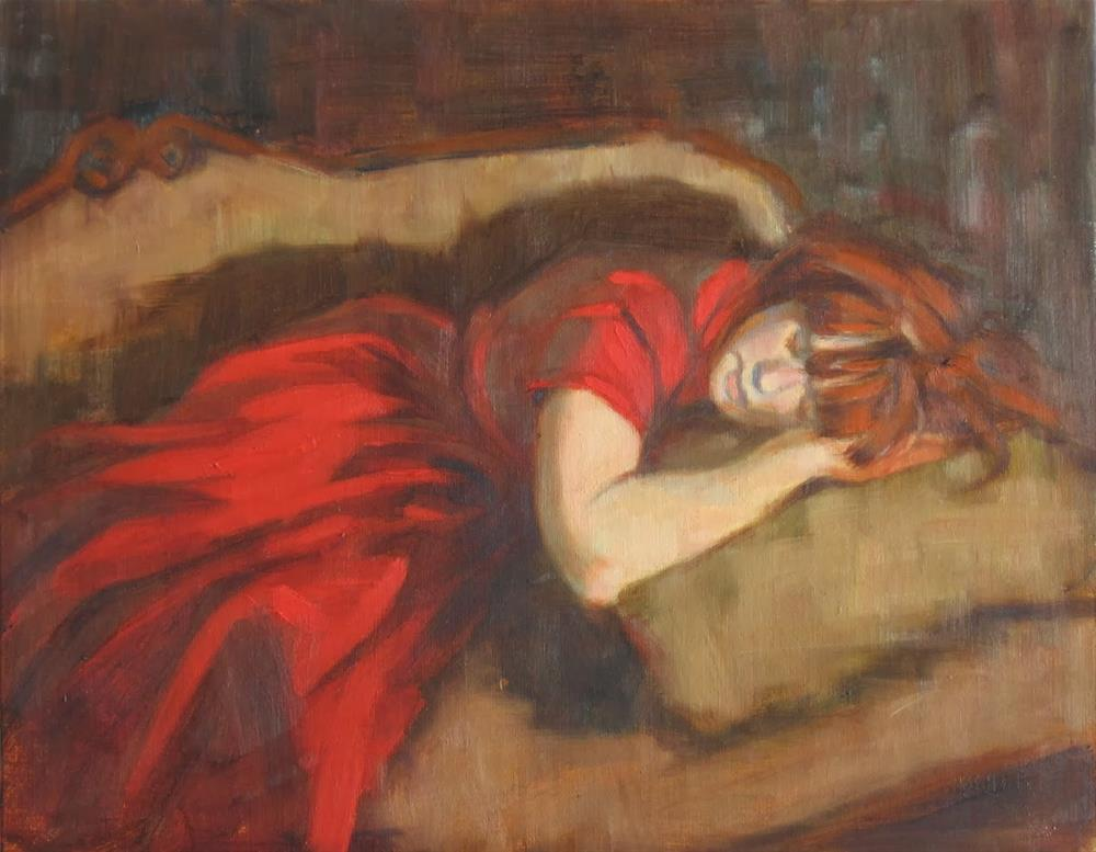 """""""Napping on the sofa 11x14 oil"""" original fine art by Claudia Hammer"""