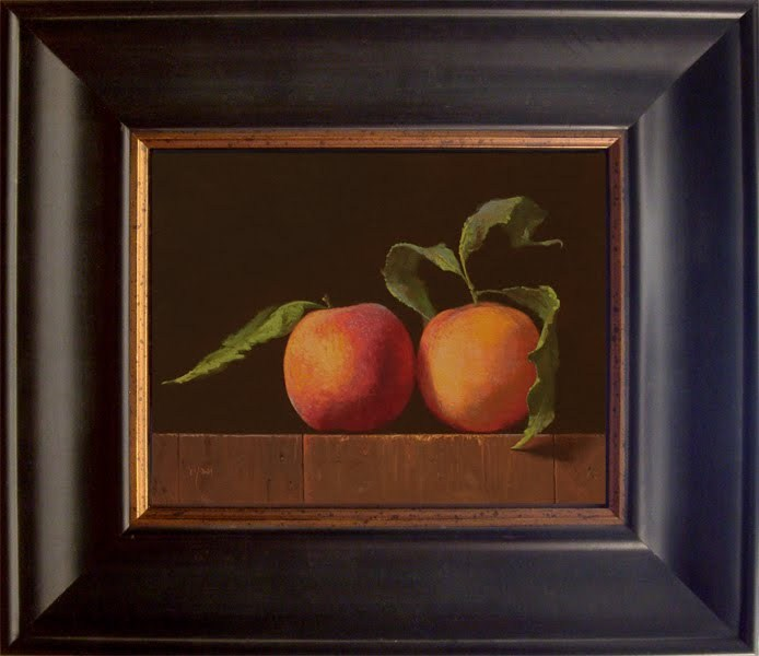 """Two Peaches with Leaves"" original fine art by Abbey Ryan"