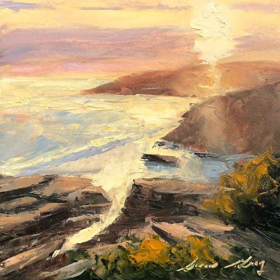 """#180 - Setting Sun - Two Lights State Park"" original fine art by Sara Gray"