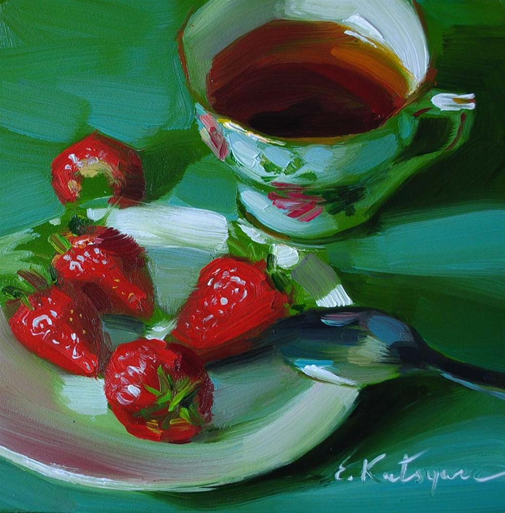 """Strong Tea and Strawberries"" original fine art by Elena Katsyura"