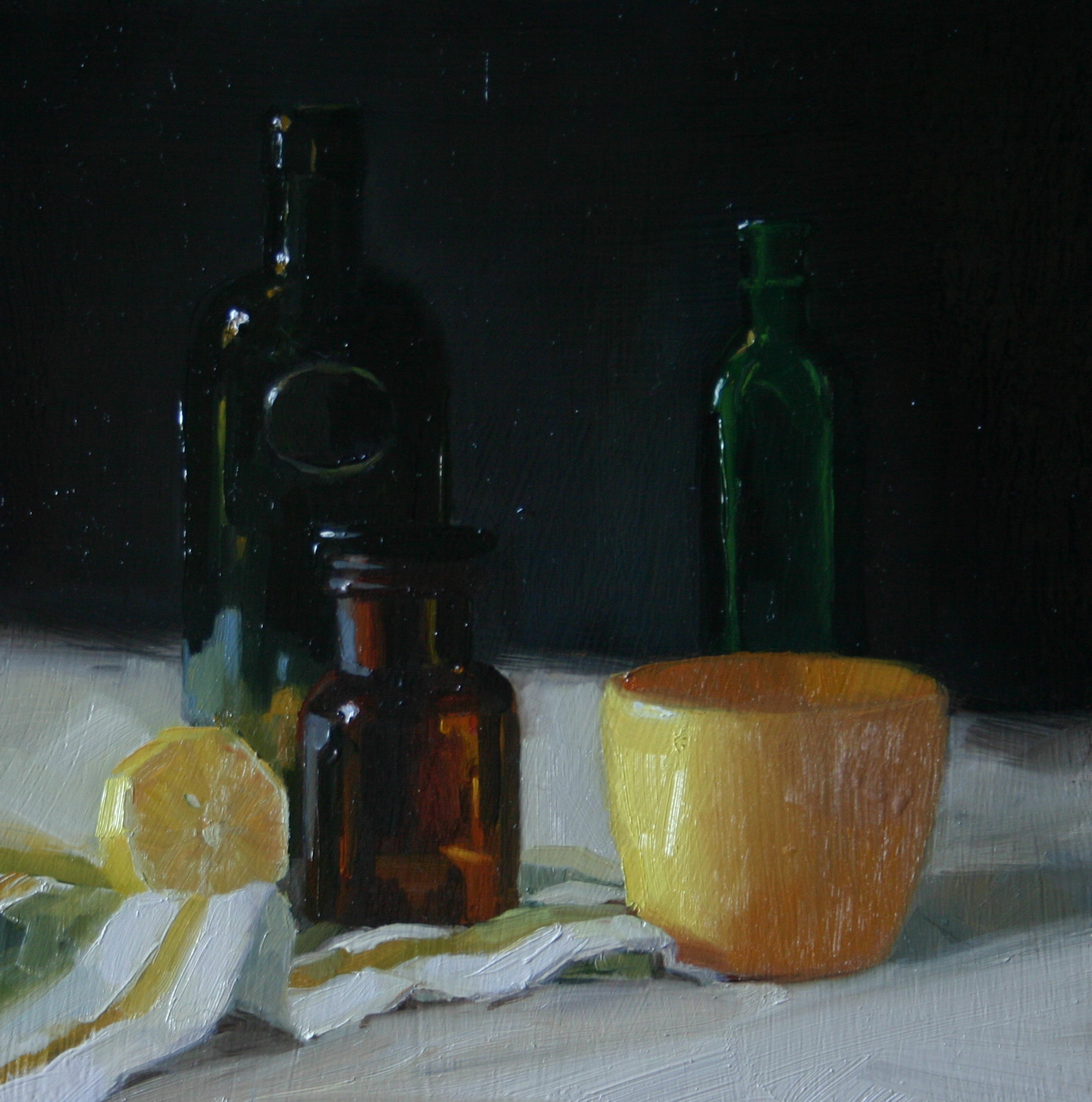 """""""Citrus, Bottles and Pot"""" original fine art by Liz Balkwill"""