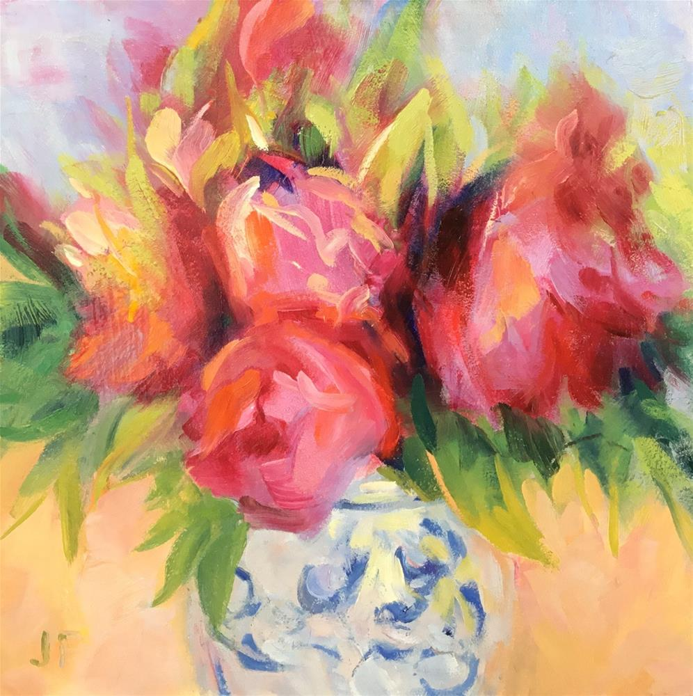 """Camellias in a Blue Vase"" original fine art by Jean Fitzgerald"