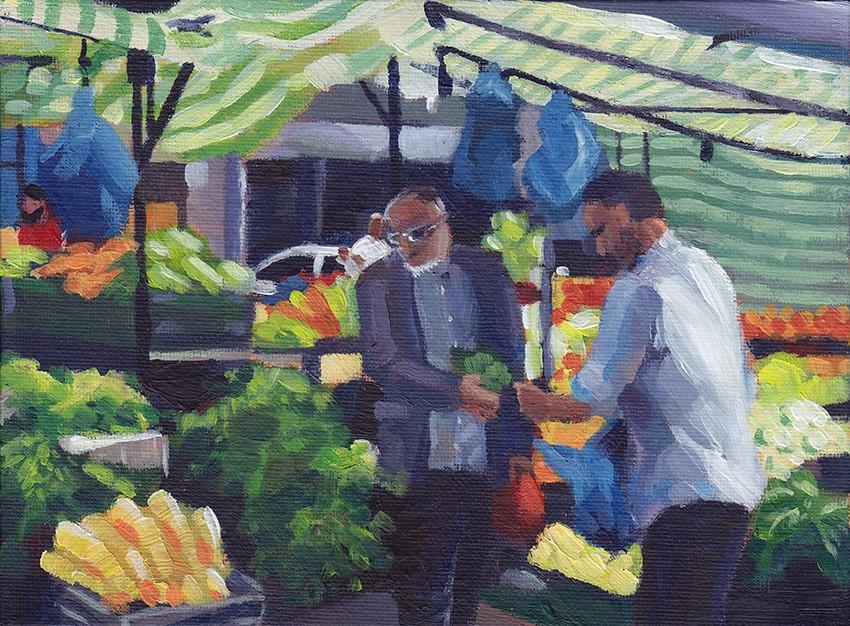 """Fruit & Veg Stall, Whitechapel Market"" original fine art by J M Needham"