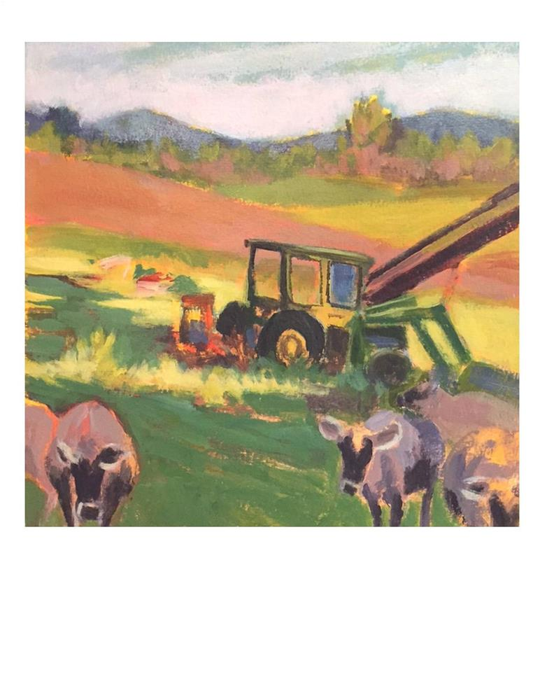 """Jersey Girls And Tractor"" original fine art by Suzanne Woodward"