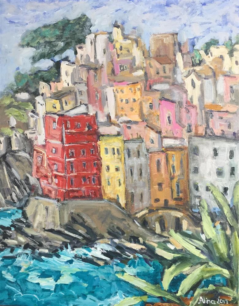 """""""Riomaggiore Cinque Terre"""" original fine art by Alina Vidulescu"""