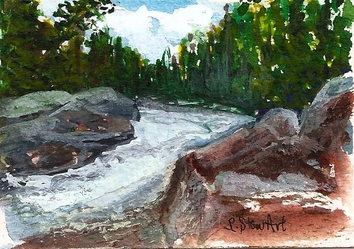 """ACEO Bull River Rushing WaterTrees Rocks Clouds Sky Landscape by Penny StewArt"" original fine art by Penny Lee StewArt"