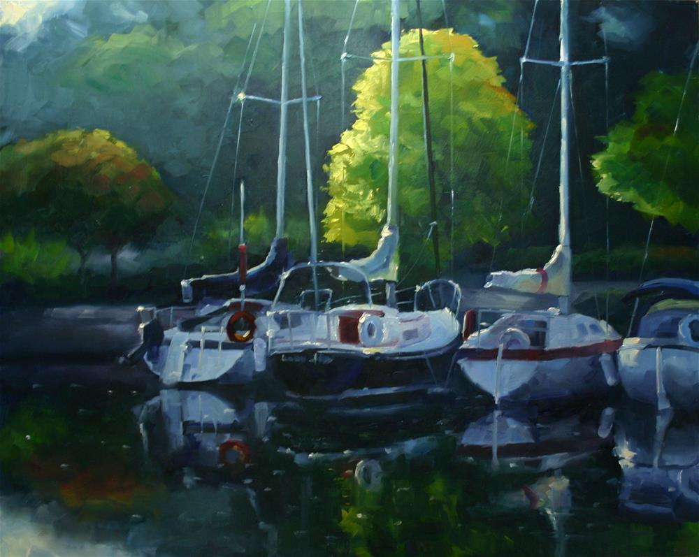 """""""Early Morning Light, Bronte Harbour"""" original fine art by Catherine Jeffrey"""