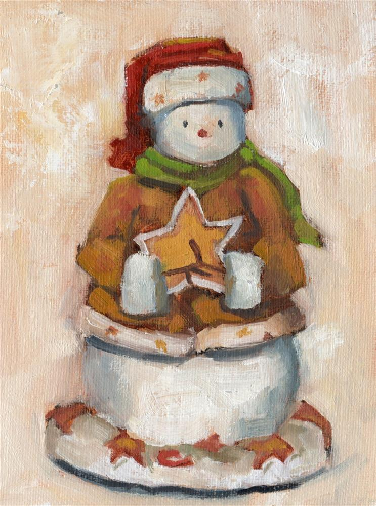 """The Snowman with a Star"" original fine art by Marlene Lee"
