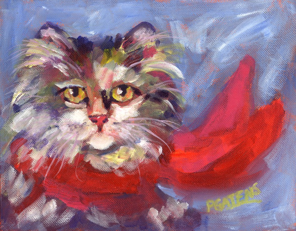 """""""Meow's New Muffler"""" original fine art by Pamela Gatens"""